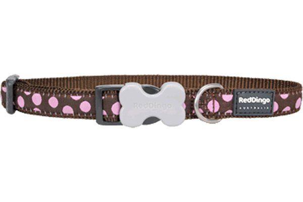 Red Dingo Kahverengi Üzerine Pembe Benekli Köpek Boyun Tasması 12mm