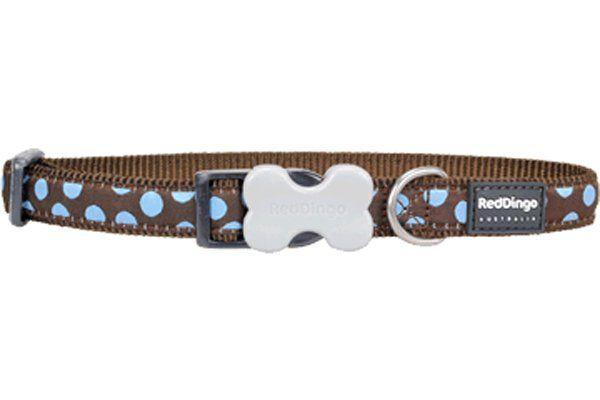 Red Dingo Kahverengi Üzerine Mavi Benekli Köpek Boyun Tasması 12mm