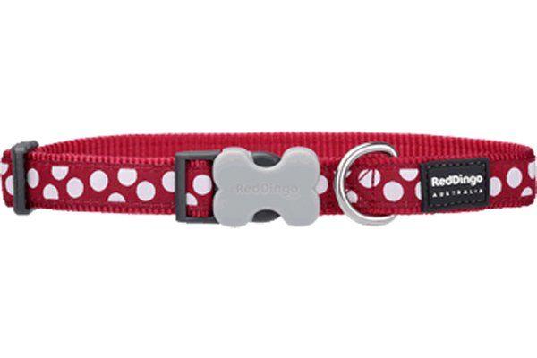 Red Dingo Kırmızı Üzerine Beyaz Benekli Köpek Boyun Tasması 15mm