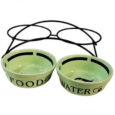 Gold İkili Seramik Metal Ayaklı Mama ve Su Kabı Yeşil 2x0.3 Lt 12 Cm