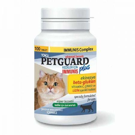 Petguard Kediler İçin Ekinezya Beta-Glukan ve Çinkolu Immunis Tableti 100 Adet