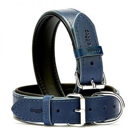 Doggie Fırstclass Köpek Deri Boyun Tasması Large Mavi 3,5x52-60 Cm