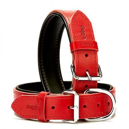 Doggie Fırstclass Köpek Deri Boyun Tasması Large Kırmızı 3,5x52-60 Cm