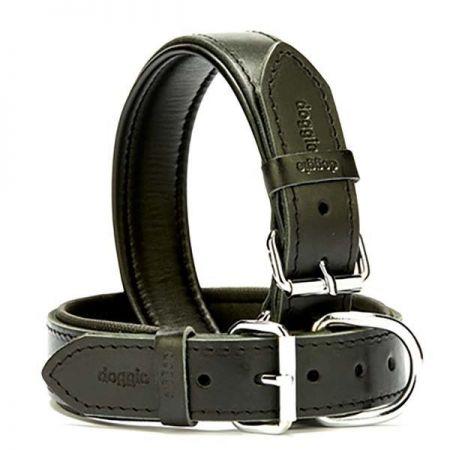 Doggie Fırstclass Köpek Deri Boyun Tasması Large Siyah 3,5x52-60 Cm