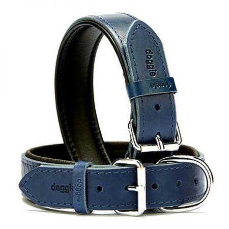 Doggie Fırstclass Köpek Deri Boyun Tasması Medium Mavi 3,5x47-55 Cm