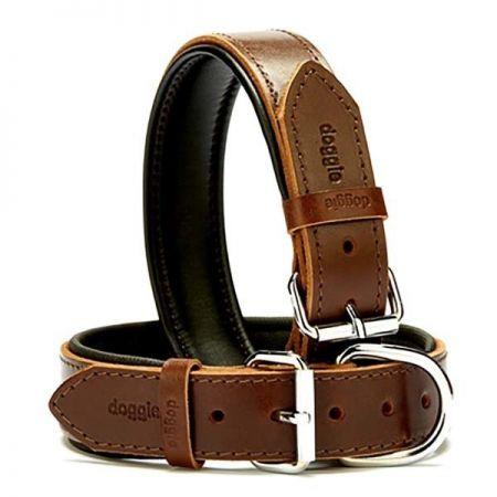Doggie Fırstclass Köpek Deri Boyun Tasması Medium Kahverengi 3,5x47-55 Cm