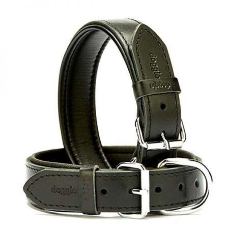 Doggie Fırstclass Köpek Deri Boyun Tasması Medium Siyah 3,5x47-55 Cm
