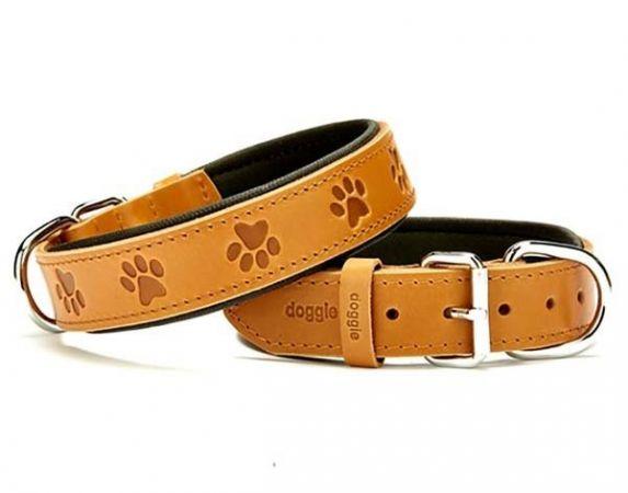 Doggie Comfort Deri Pati Desenli Köpek Boyun Tasması Medium Camel 3.5x47-55 Cm