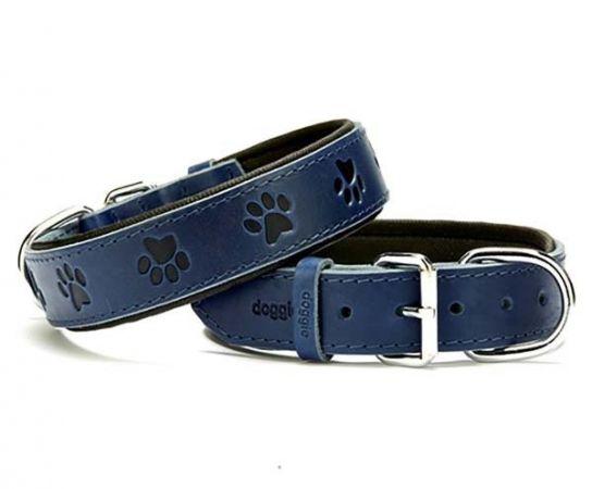 Doggie Comfort Deri Pati Desenli Köpek Boyun Tasması Medium Mavi 3.5x47-55 Cm