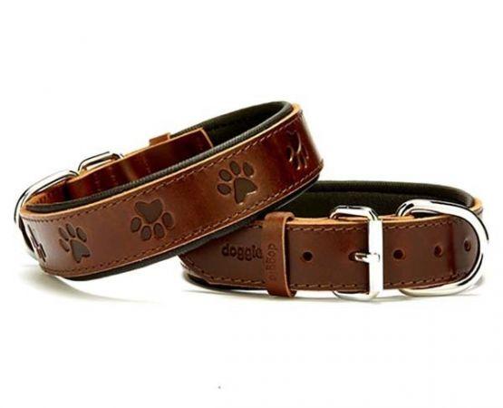 Doggie Comfort Deri Pati Desenli Köpek Boyun Tasması Medium Kahverengi 3.5x47-55 Cm