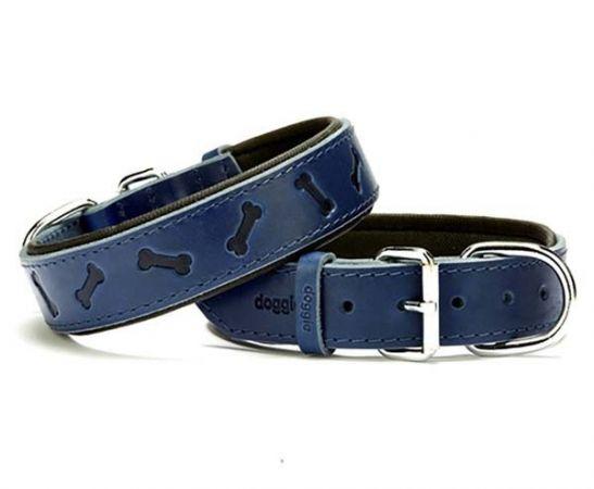 Doggie Comfort Deri Kemik Desenli Köpek Boyun Tasması Medium Mavi 3.5x47-55 Cm