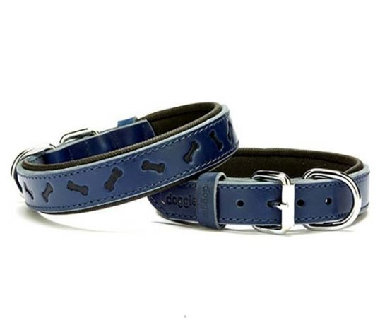 Doggie Comfort Deri Kemik Desenli Köpek Boyun Tasması Medium Mavi 2.5x37-45 Cm