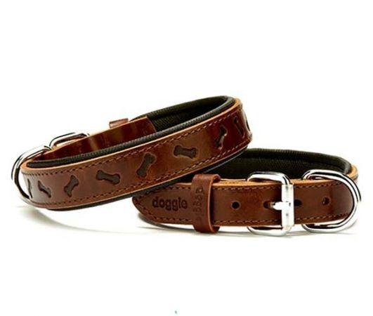 Doggie Comfort Deri Kemik Desenli Köpek Boyun Tasması Medium Kahverengi 2.5x37-45 Cm
