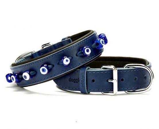 Doggie Comfort Deri Nazar Boncuklu Köpek Boyun Tasması Large Mavi 3.5x52-60 Cm