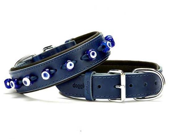 Doggie Comfort Deri Nazar Boncuklu Köpek Boyun Tasması Medium Mavi 3.5x47-55 Cm