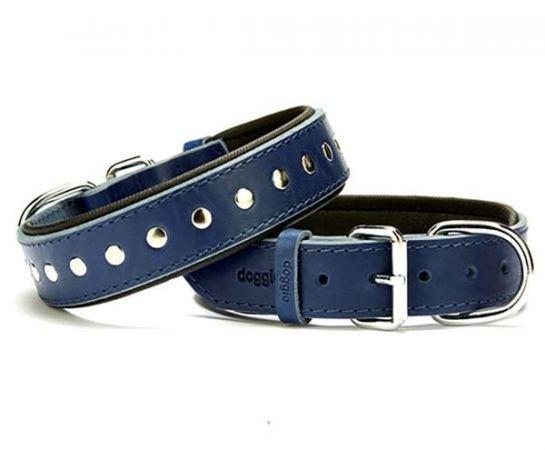 Doggie Comfort Deri Rivetli Köpek Boyun Tasması Medium Mavi 3.5x47-55 Cm