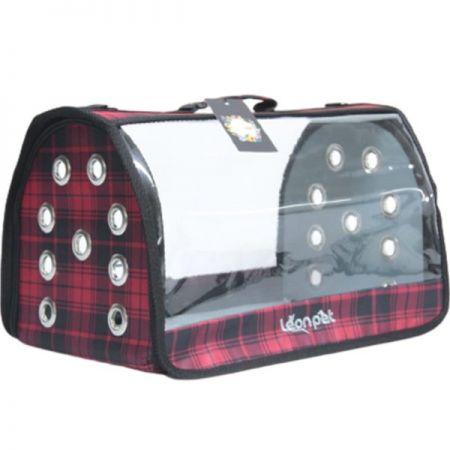 Leon Pet Şeffaf Fly Bag Taşıma Çantası Ekose 46x26x26h Cm
