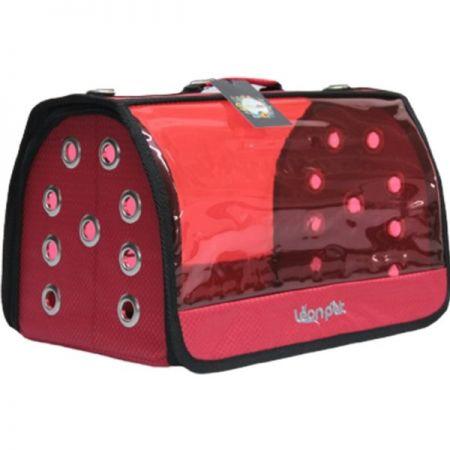 Leon Pet Şeffaf Fly Bag Taşıma Çantası Kırmızı 46x26x26h Cm