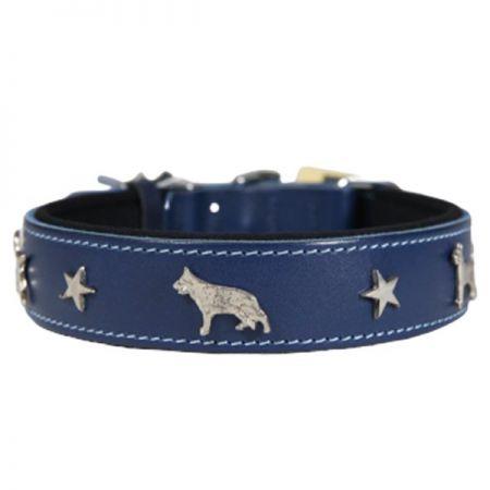 Doggie Comfort Deri Köpek Süslü Köpek Boyun Tasması Medium Mavi