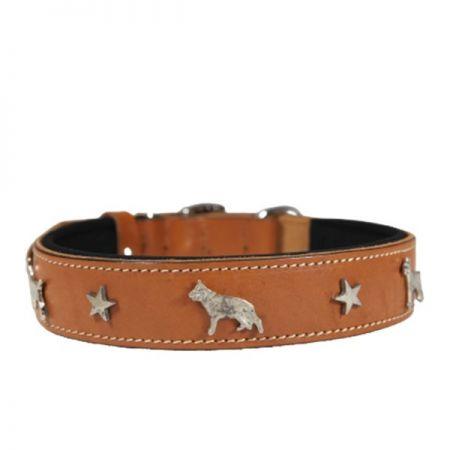 Doggie Comfort Deri Köpek Süslü Köpek Boyun Tasması Small Camel
