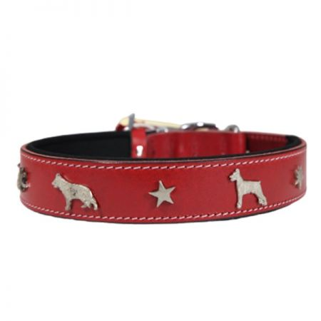 Doggie Comfort Deri Köpek Süslü Köpek Boyun Tasması Large Kırmızı