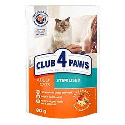 Club4Paws Premium Kısırlaştırılmış Pouch Kedi Konservesi 80 Gr