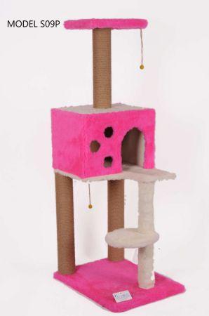 Cat Hause S09 Kare Evli Merdivenli Kedi Tırmalama Pembe 124 Cm