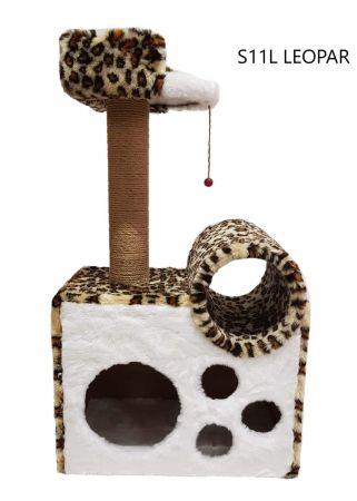 Cat Hause S11 Tünelli Yataklı Kedi Tırmalama Leopar 90 Cm