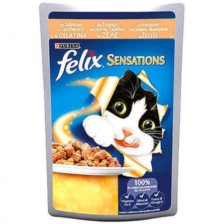 Felix Sensations Somonlu ve Karidesli Yaş Kedi Maması 100 Gr
