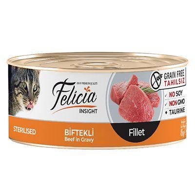 Felicia Tahılsız Biftekli Fileto Kısırlaştırılmış Kedi Konservesi 85 Gr