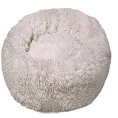 Dubex Ponchik Peluş Yuvarlak Yatak Beyaz X Large 98x11h cm