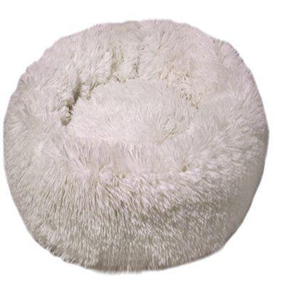 Dubex Ponchik Peluş Yuvarlak Yatak Beyaz Large 80x11h cm