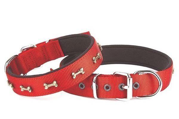 Doggie Comfort Dokuma Kemikli Köpek Boyun Tasması Medium Kırmızı 3x42-50 Cm