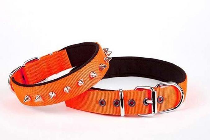 Doggie Comfort Dokuma Çivili Köpek Boyun Tasması Medium Turuncu 2,5x37-45 cm