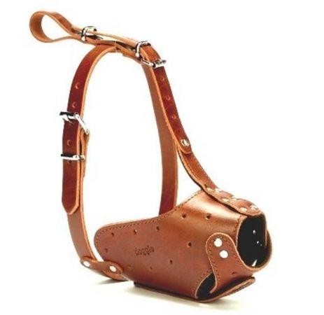 Doggie Uzun Burun Koruma Deri Köpek Ağızlık Large Kahverengi 2x55-60 Cm