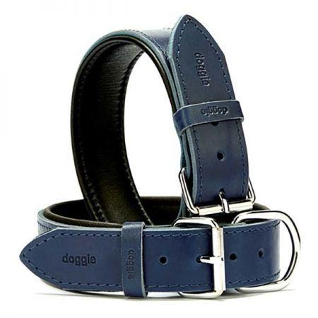 Doggie Fırstclass Köpek Deri Boyun Tasması Large Mavi 4x57-65 Cm