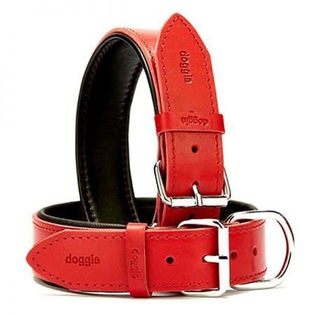 Doggie Fırstclass Köpek Deri Boyun Tasması Large Kırmızı 4x57-65 Cm