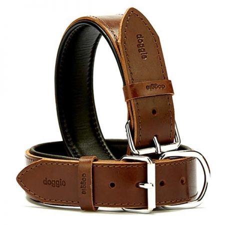 Doggie Fırstclass Köpek Deri Boyun Tasması Large Kahverengi 4x57-65 Cm