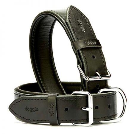 Doggie Fırstclass Köpek Deri Boyun Tasması Large Siyah  4x57-65 Cm