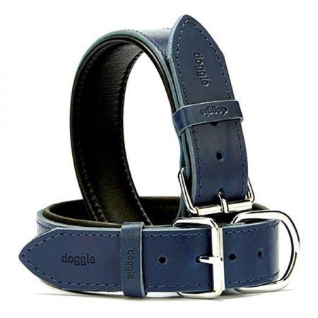 Doggie Fırstclass Köpek Deri Boyun Tasması Medium Mavi 4x52-60 Cm