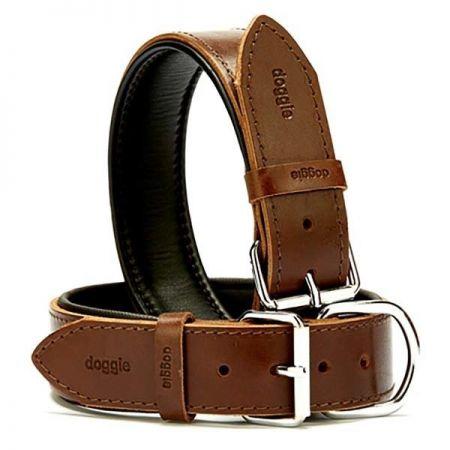 Doggie Fırstclass Köpek Deri Boyun Tasması Medium Kahverengi 4x52-60 Cm