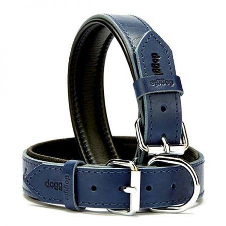 Doggie Fırstclass Köpek Deri Boyun Tasması Medium Mavi 3x42-50 Cm