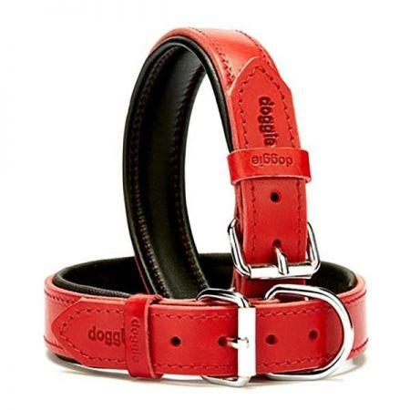 Doggie Fırstclass Köpek Deri Boyun Tasması Medium Kırmızı 3x42-50 Cm
