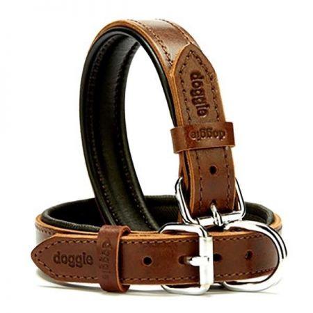 Doggie Fırstclass Köpek Deri Boyun Tasması Medium Kahverengi 2,5x37-45 Cm