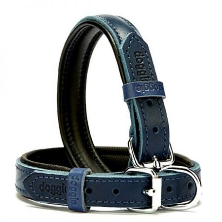 Doggie Fırstclass Köpek Deri Boyun Tasması Medium Mavi 2x35-40 Cm