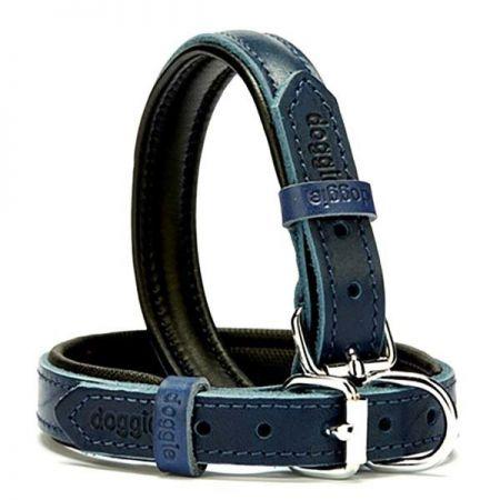 Doggie Fırstclass Köpek Deri Boyun Tasması Small Mavi 2x30-35 Cm