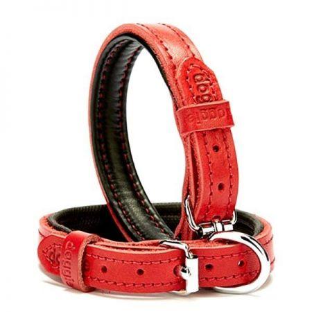 Doggie Fırstclass Köpek Deri Boyun Tasması Medium Kırmızı 1,5x25-30 Cm