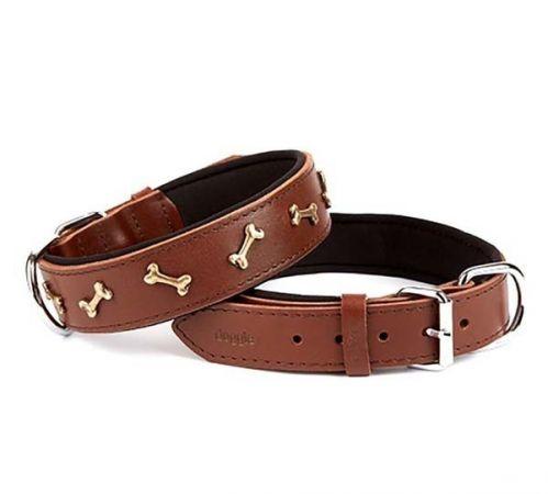 Doggie Comfort Deri Kemik Süslü Köpek Boyun Tasması Large Kahverengi 4x57-65 Cm
