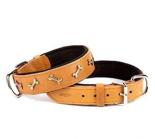 Doggie Comfort Deri Kemik Süslü Köpek Boyun Tasması Medium Camel 4x52-60 Cm