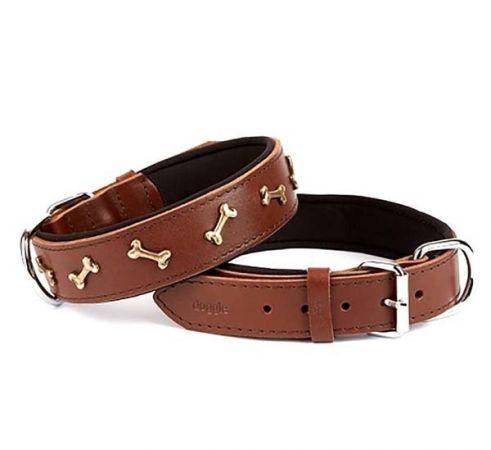 Doggie Comfort Deri Kemik Süslü Köpek Boyun Tasması Small Kahverengi 4x47-55 Cm